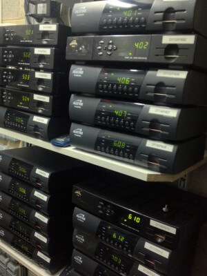 Rows of Foxtel decoders